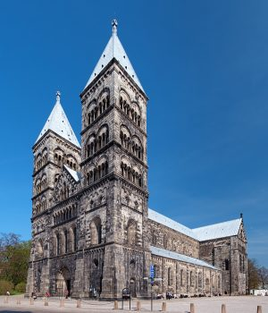 Lund Cathedral in sunny spring day, Sweden